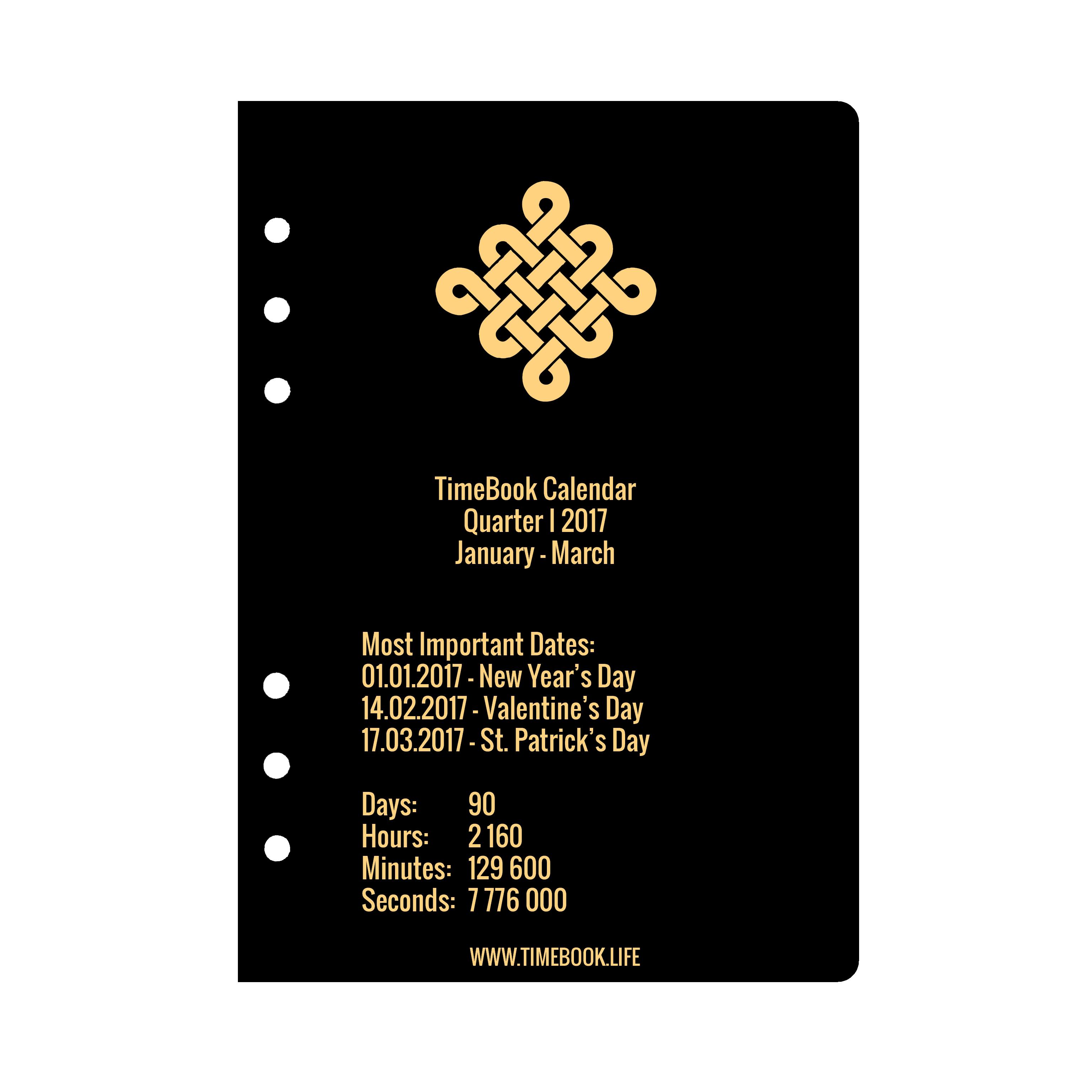 Productivity Calendar 2018 Quarter I (January - March) - TimeBook.life