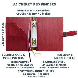 Cherry Red Binder Open